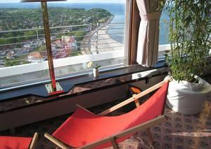 Herrlicher Ostseeblick aus dem Restaurant im 35. Stock. © WELTEXPRESS, Foto: Elke Backert