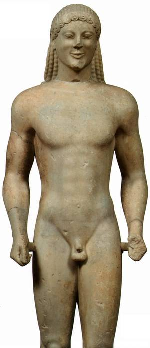Kouros vom Apollonheiligtum auf dem Ptoion, Marmorstatue, 6. Jh. v. Chr., Archäologisches Museum Olympia. © The Hellenic Ministry of Culture and Tourism. Foto: Giannis Patrikianos