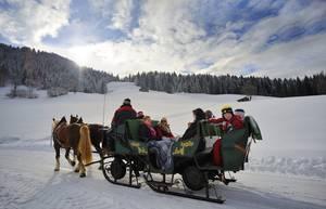 Eine romantische Pferdeschlittenfahrt macht Kindern und Erwachsenen Spaß. © Ferienregion Hohe Salve