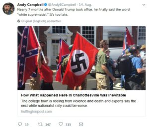 Der Screenshot von Andy Campbell auf Twitter vom 16. August 2017 zeigt US-Nazis am 14. August 2017 in Charlottsville, USA.