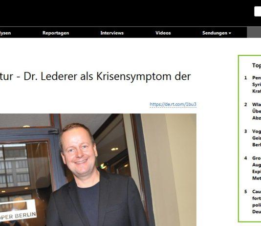 Zensur statt Kultur - Dr. Lederer als Krisensymptom der Linken