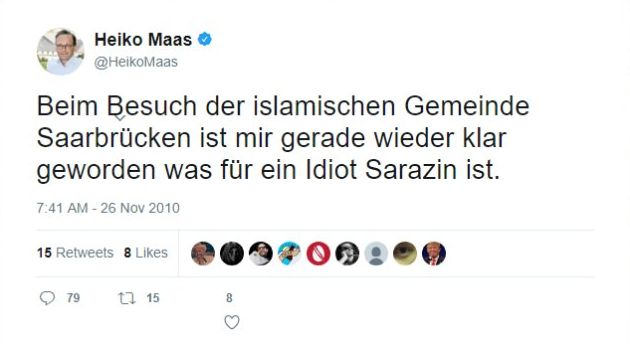 Heiko Maas hält Thilo Sarazin für einen Idioten.