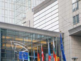 Flaggenparade vor dem EU-Parlament in Brüssel.