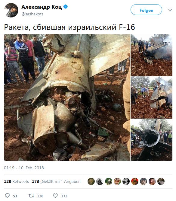 Diese Rakete habe eine F-16 der israelischen Luftwaffe abgeschossen.