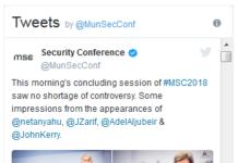 Netanjahu und Sarif auf der Münchner Sicherheitskonferenz 2018.