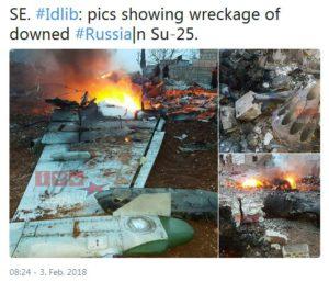 Wrack der über Idlib abgeschossenen Suchoi Su25 der Russischen Föderation.