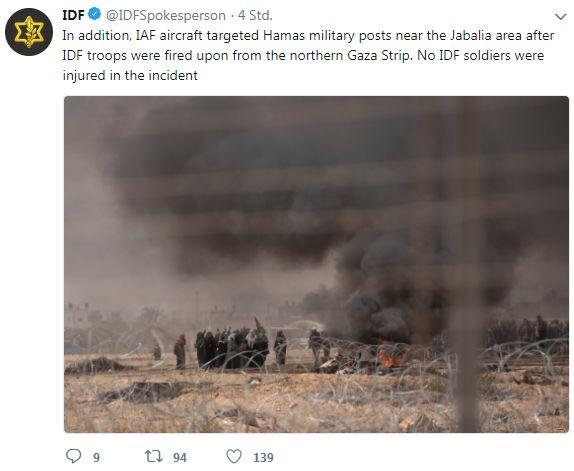 Blick und Beschuss auf den Gazastreifen.