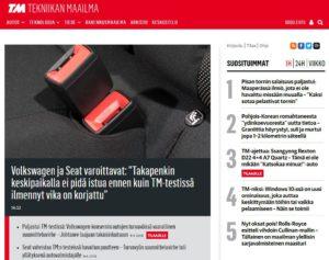 """Probleme mit den Gurten bei """"Volkswagen und Seat"""". Ausschnitt eines Screenshots der Webseite Tekniikanmaailma vom 11.5.2018. Quelle: tekniikanmaailma.fi"""