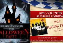 Halloween-Party am 27. Oktober 2018 im Hofbräu München, Wirtshaus Berlin.
