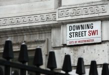 Downing Street in der City of Westminster, London.