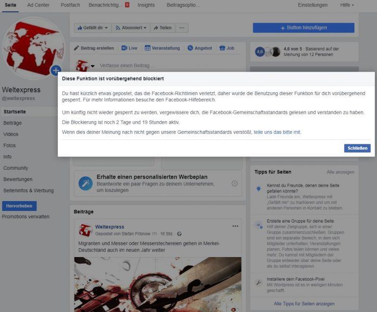 Notorische Gesinnungspolizei – Facebook gegen Weltexpress oder Zensur gegen Pribnow?