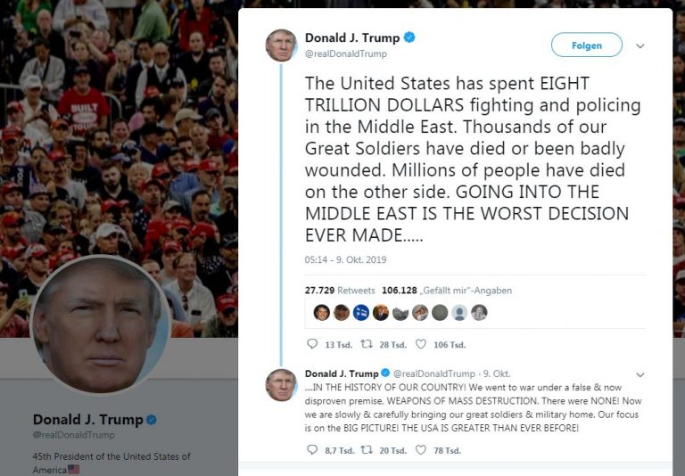 """US-Präsident Donald Trump: """"Going into the Middle East is the worst decision ever made in the history of our contry!"""""""