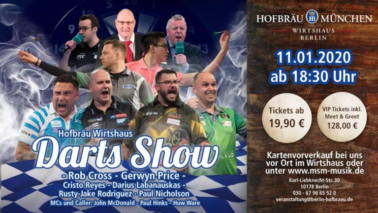 Mit Pfeilen auf eine runde Scheibe werfen – Darts Show im Hofbräu München Wirtshaus Berlin mit Voltage und The Iceman